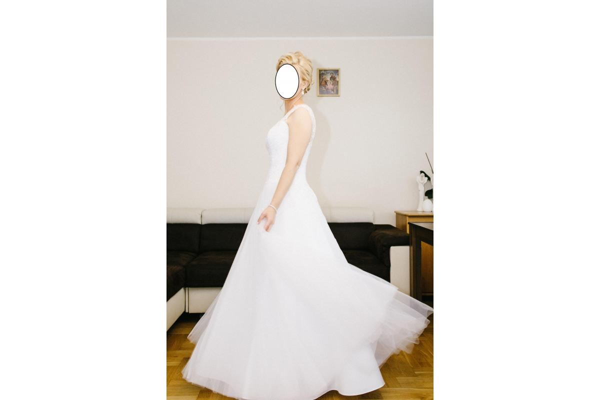 Suknia ślubna AVOLA, rozmiar 38, wzrost 170 (jak nowa) +welon