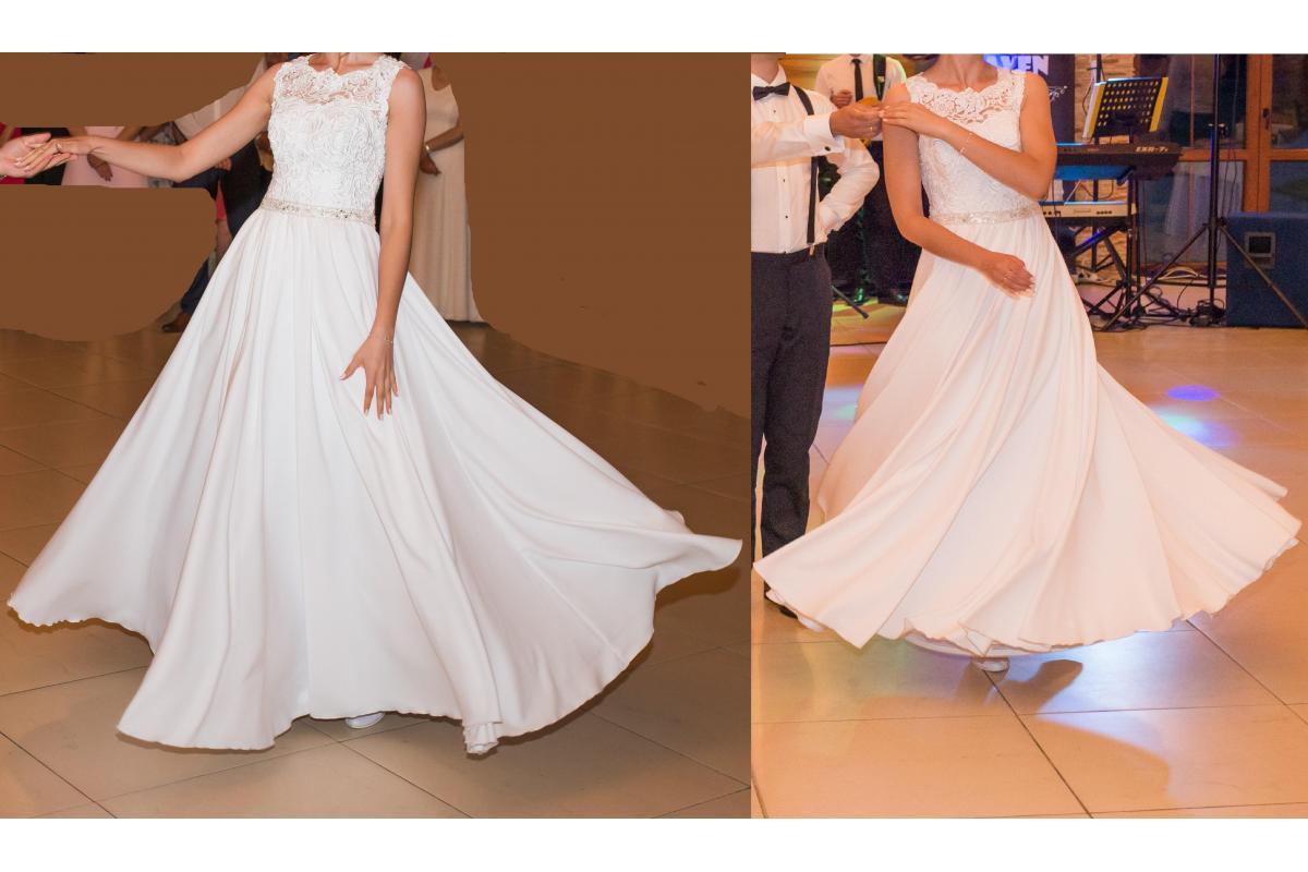 Suknia ślubna 34-36-38, litera A, biała gipiura i kaszmir