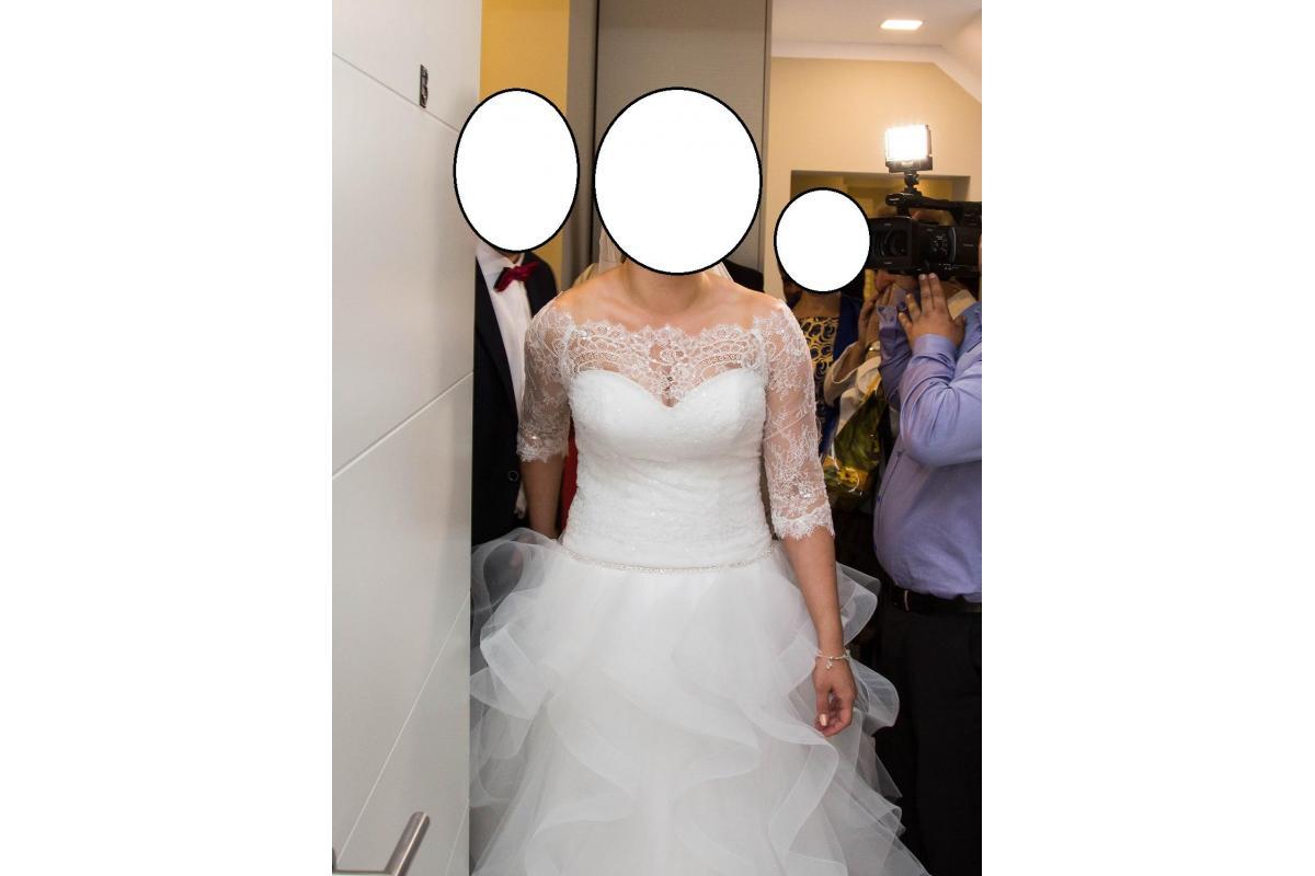 Suknia ślubna falbany falbanki Vanessa 1502 piękna bajkowa