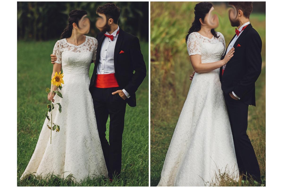 Piękna koronkowa suknia ślubna, gorset, bolerko+pasek+halka z regulowanym kołem