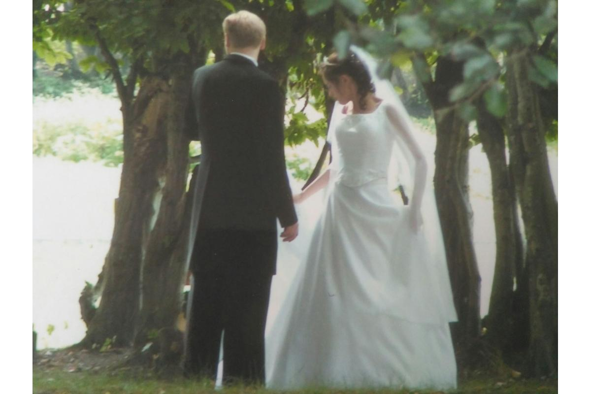 suknia ślubna 36 dwudzielna z długimi rozciętymi rękawami z szyfonu