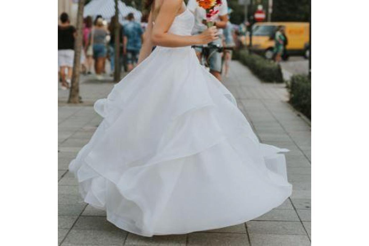 Suknia ślubna rozm. 36-38, wzrost 165 + obcas 5 cm, jedwab