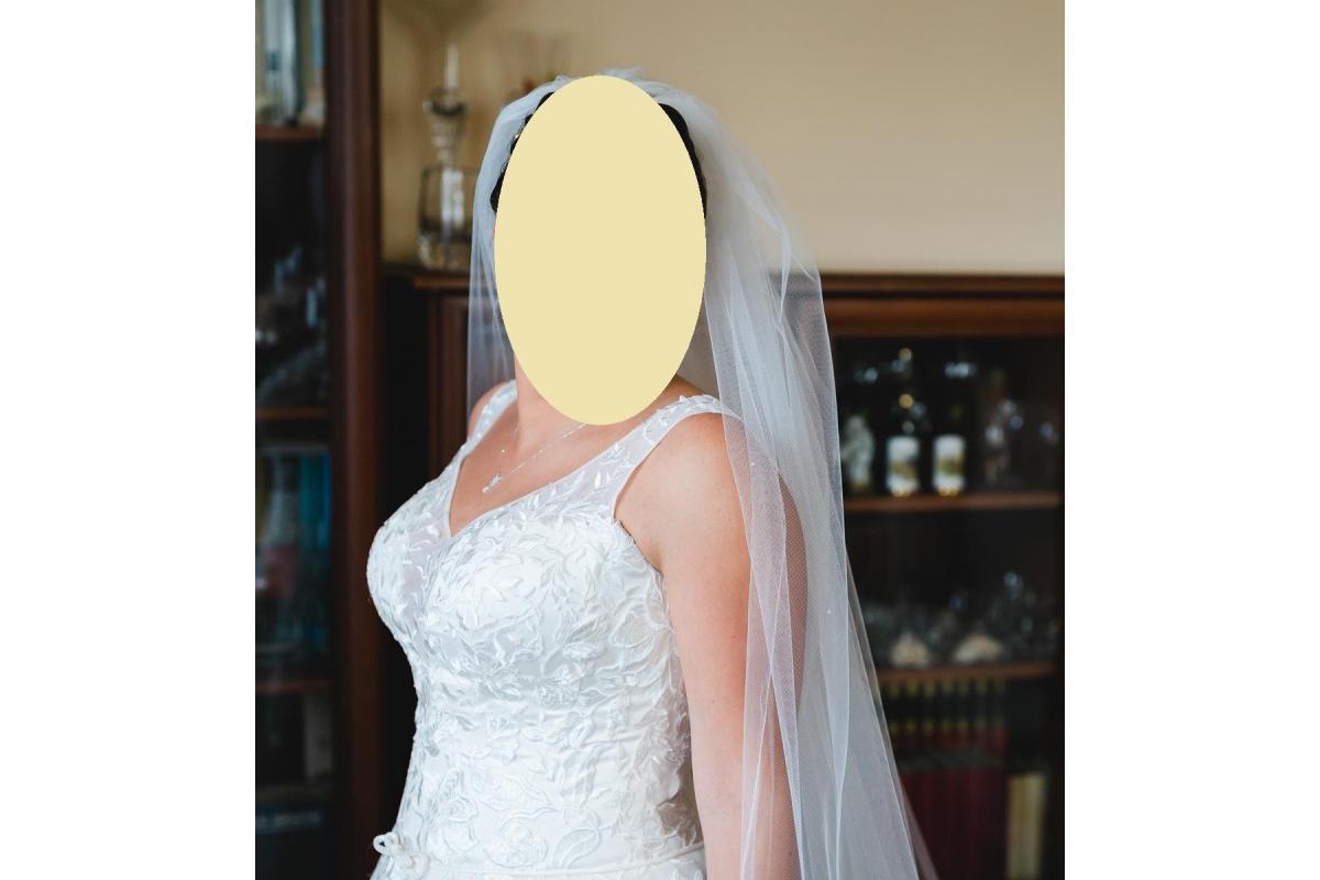Piękna suknia ślubna z gipiurą