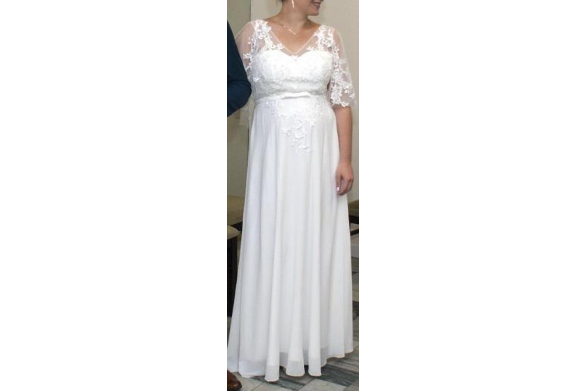 SUKNIA ślubna biała z przykrytymi ramionami 40/42