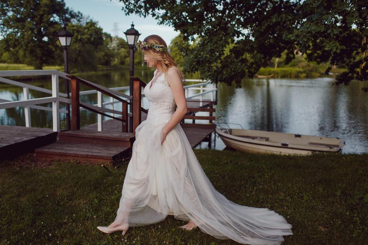 Suknia ślubna 38 M Sweetheart 6171 piękna jak nowa lekka zwiewna z trenem koronkowa