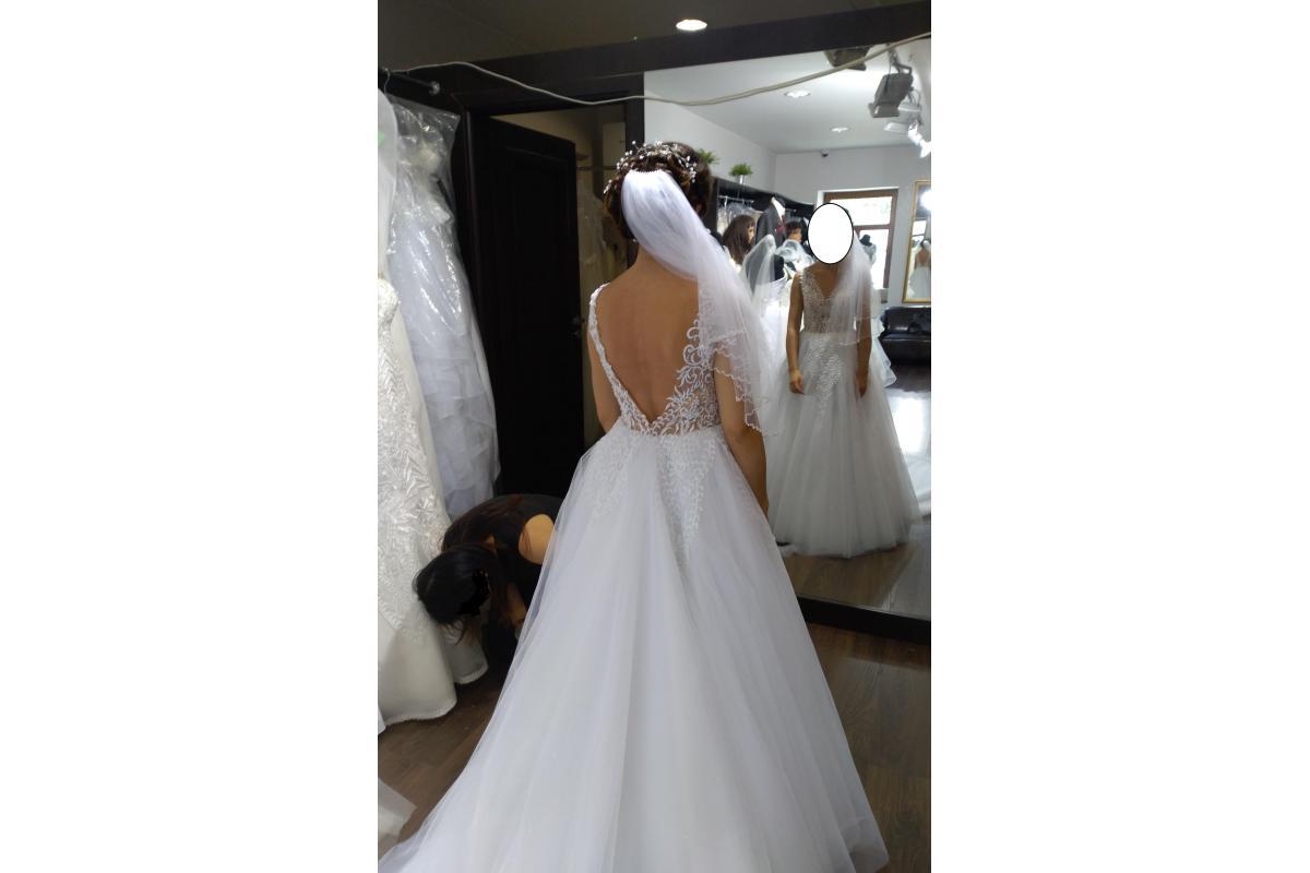 Piękna suknia ślubna Anastazja z długim trenem roz. 34/36 + welon