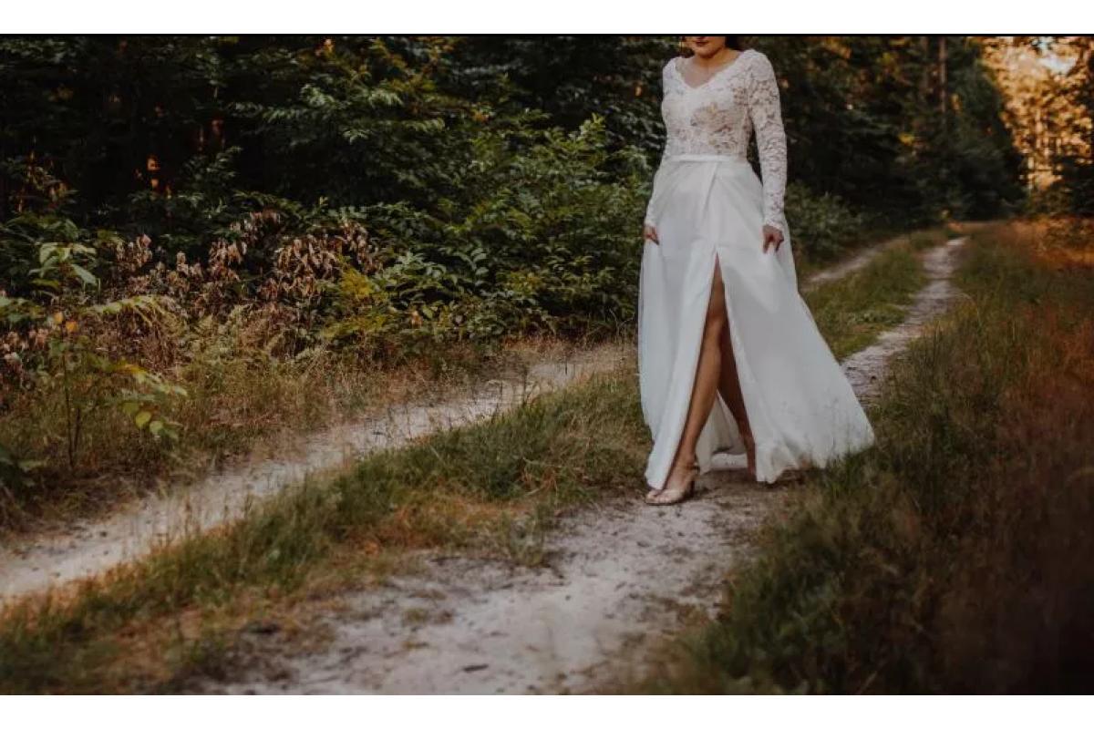 Suknia ślubna Mirabell (roz. 38) z długim rękawem + welon