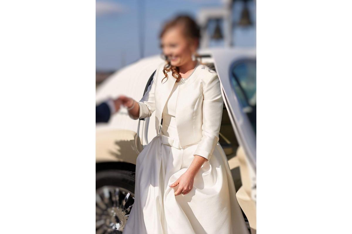 Suknia ślubna IGAR model MIJA rozmiar 36/38 materiał MIKADO + BOLERKO