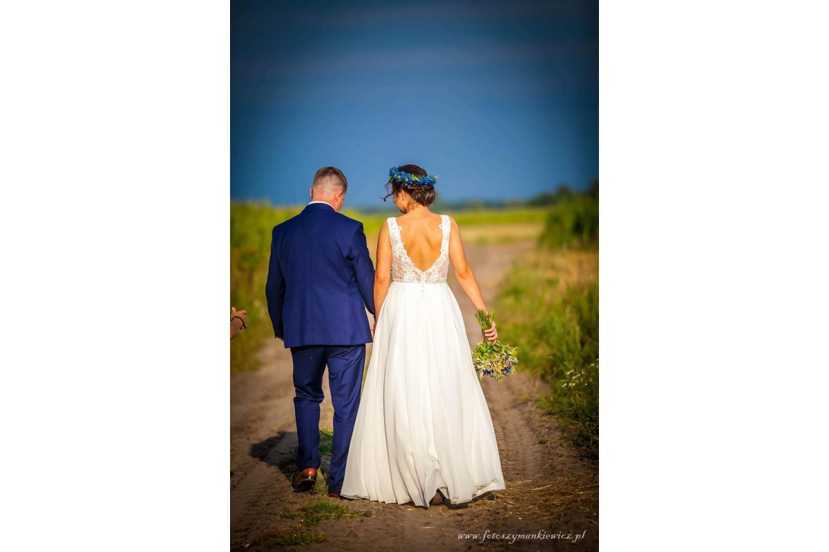 Rustykalna (boho) suknia ślubna roz. 36/38; + dużo dodatków