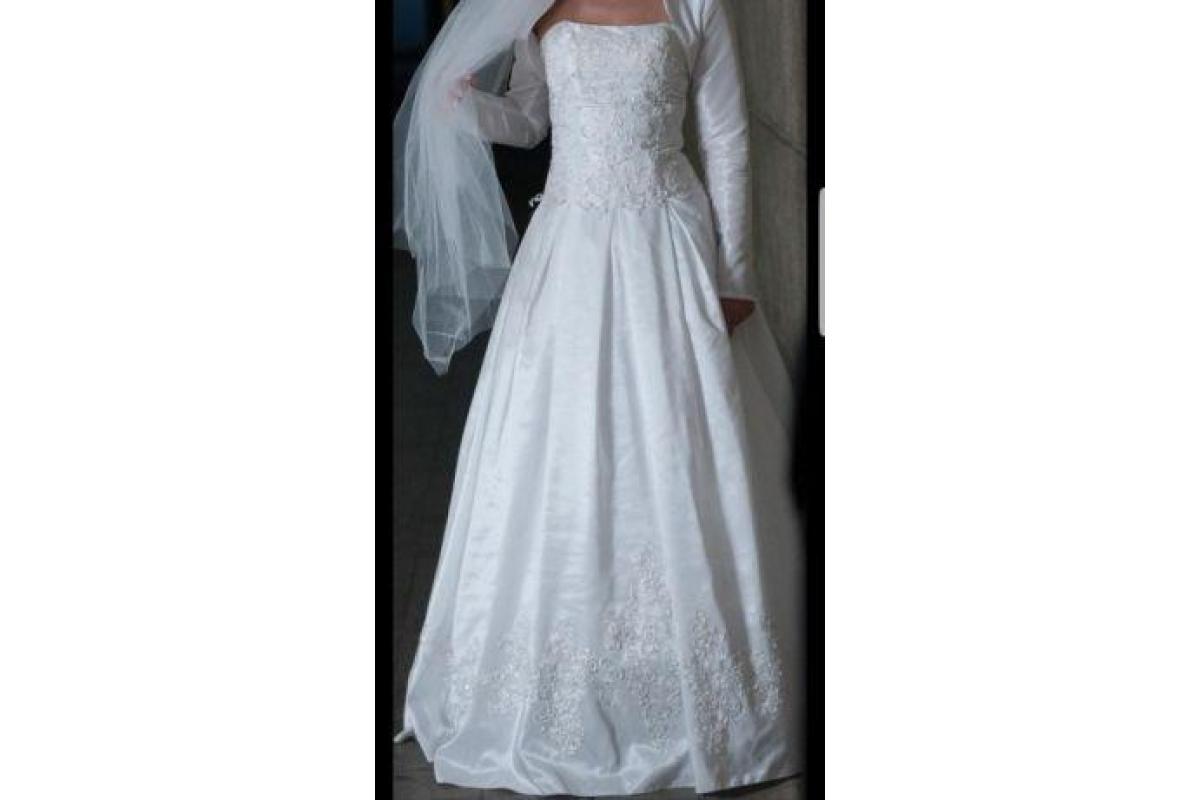 Suknia z pięknym gorsetem, tafta. 176 cm + obcas