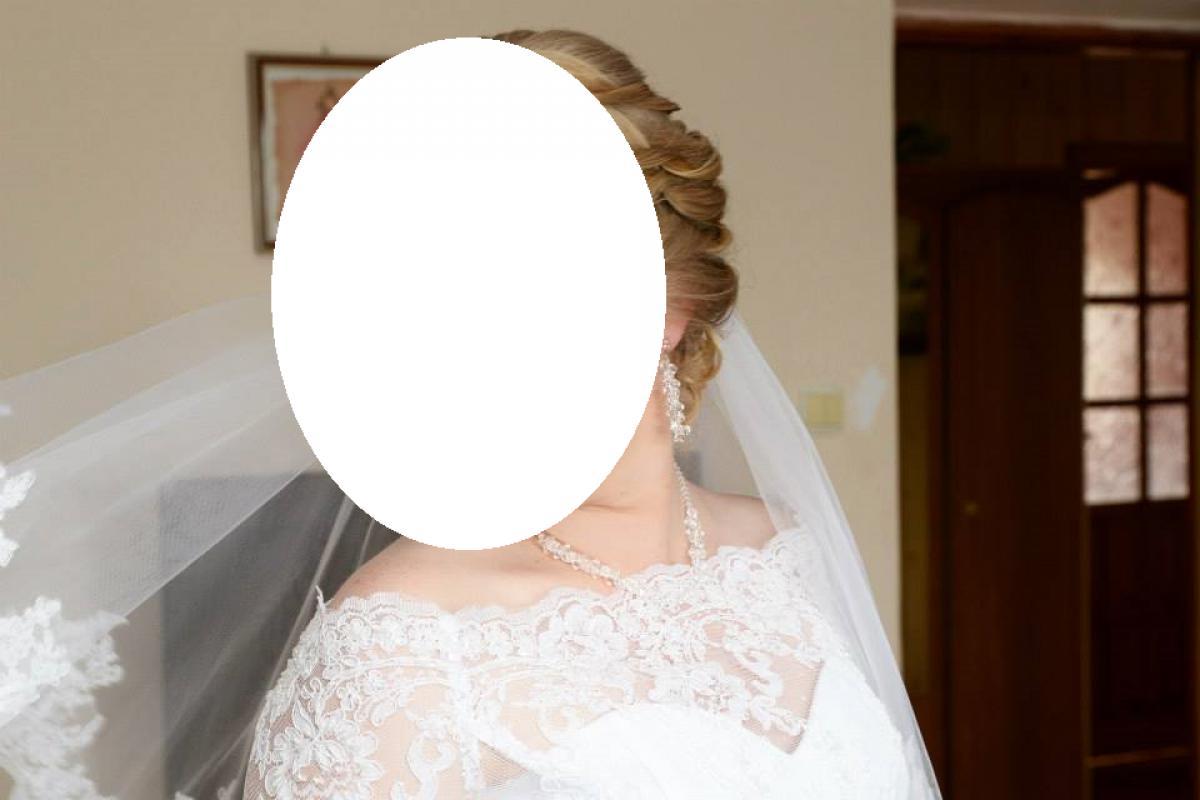 Suknia ślubna gratis welon, koronkowe bolerko i biżuteria Swarovski
