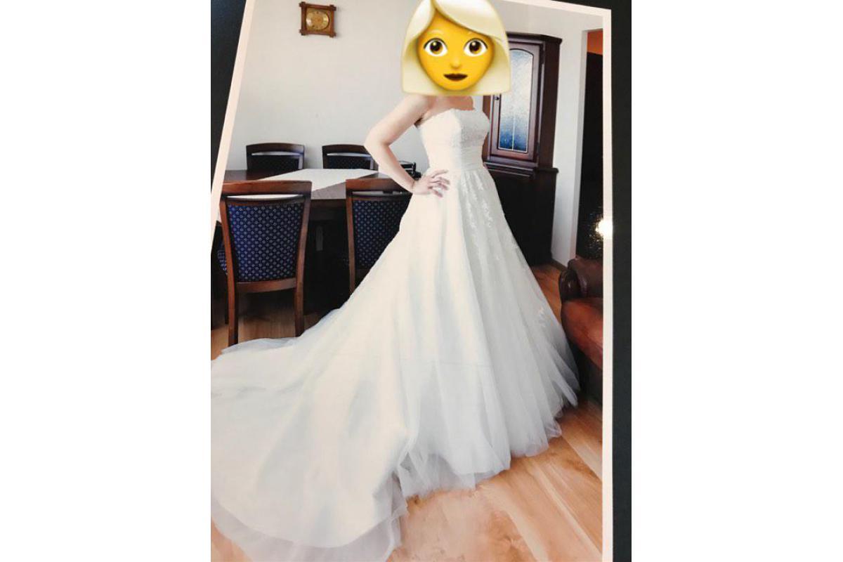 Suknia Ślubna Annais Bridal z welonem, model Jesse, rozmiar 38/40