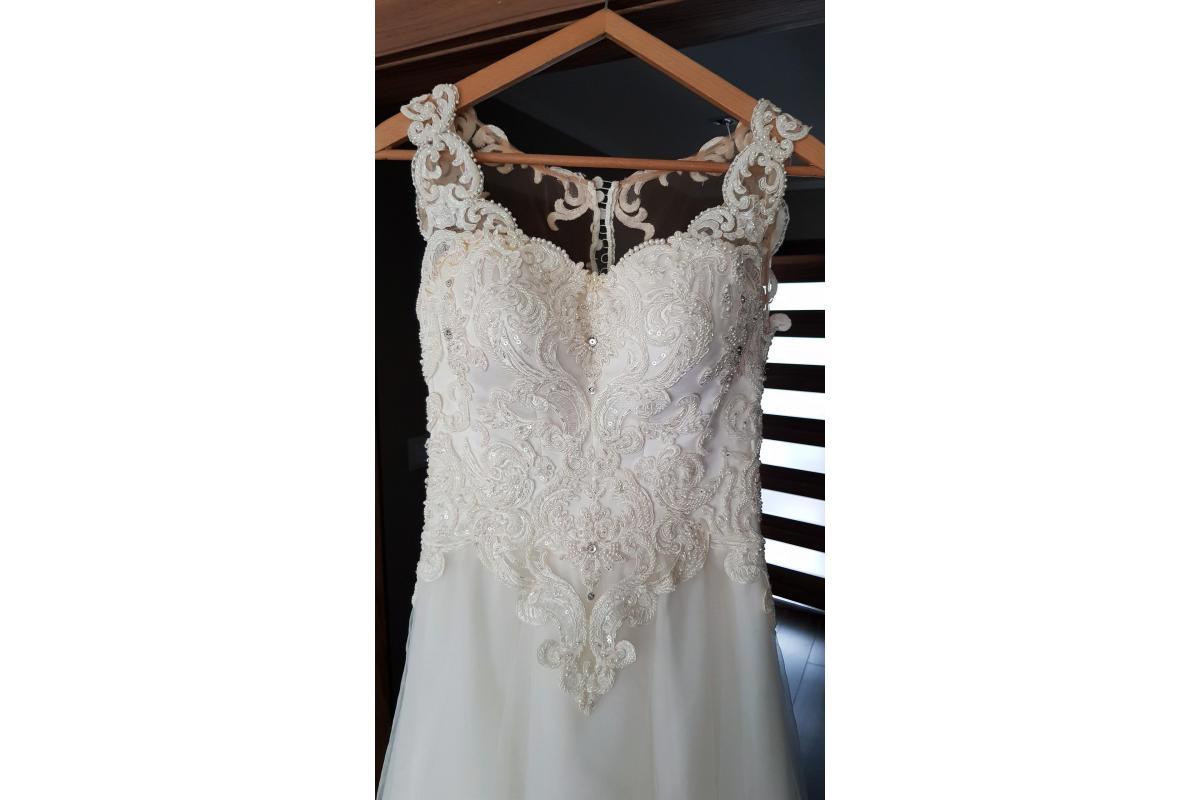 Suknia ślubna litera A 36/38 ivory śmietankowa biel