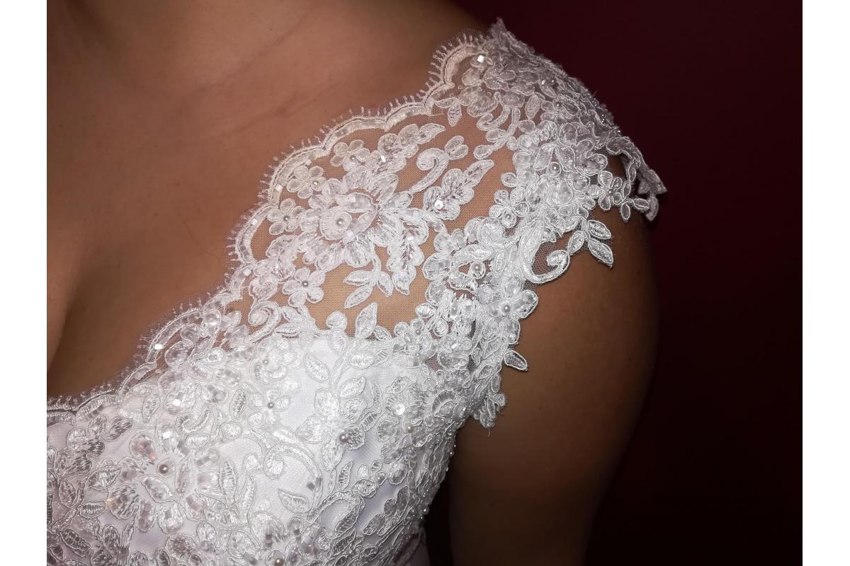 Suknia ślubna 2 w 1 zdejmowana długa spódnica r. 42 śmietanka