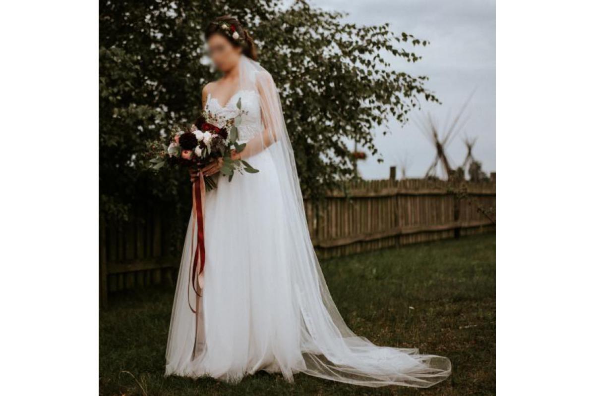 Suknia ślubna boho koronka rozmiar 38 rustykalna