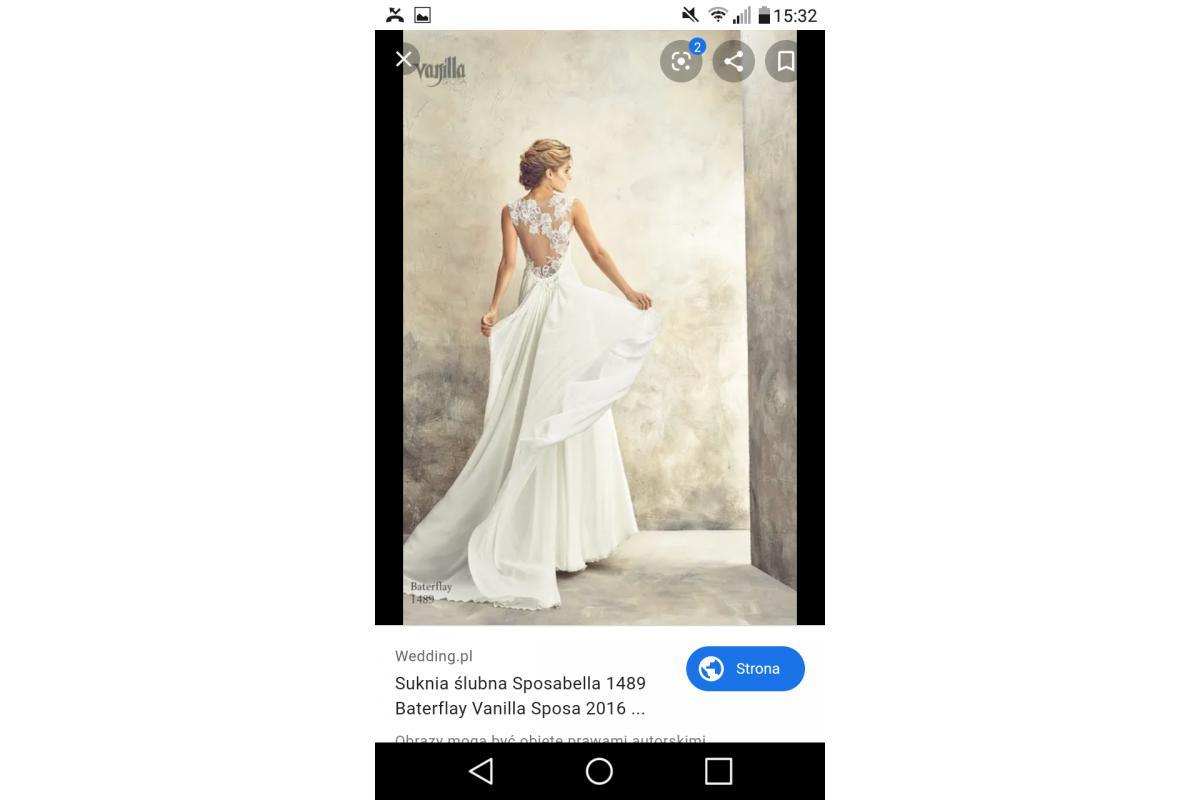 Delikatna, zwiewna suknia ślubna, rozmiar 36