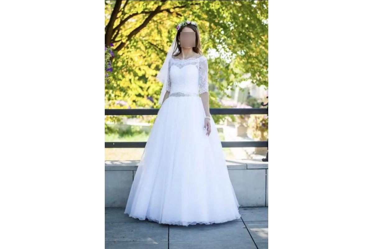suknia księżniczka (gorset) z pasem z diamencików, halką na kole i bolerkiem - jak nowa