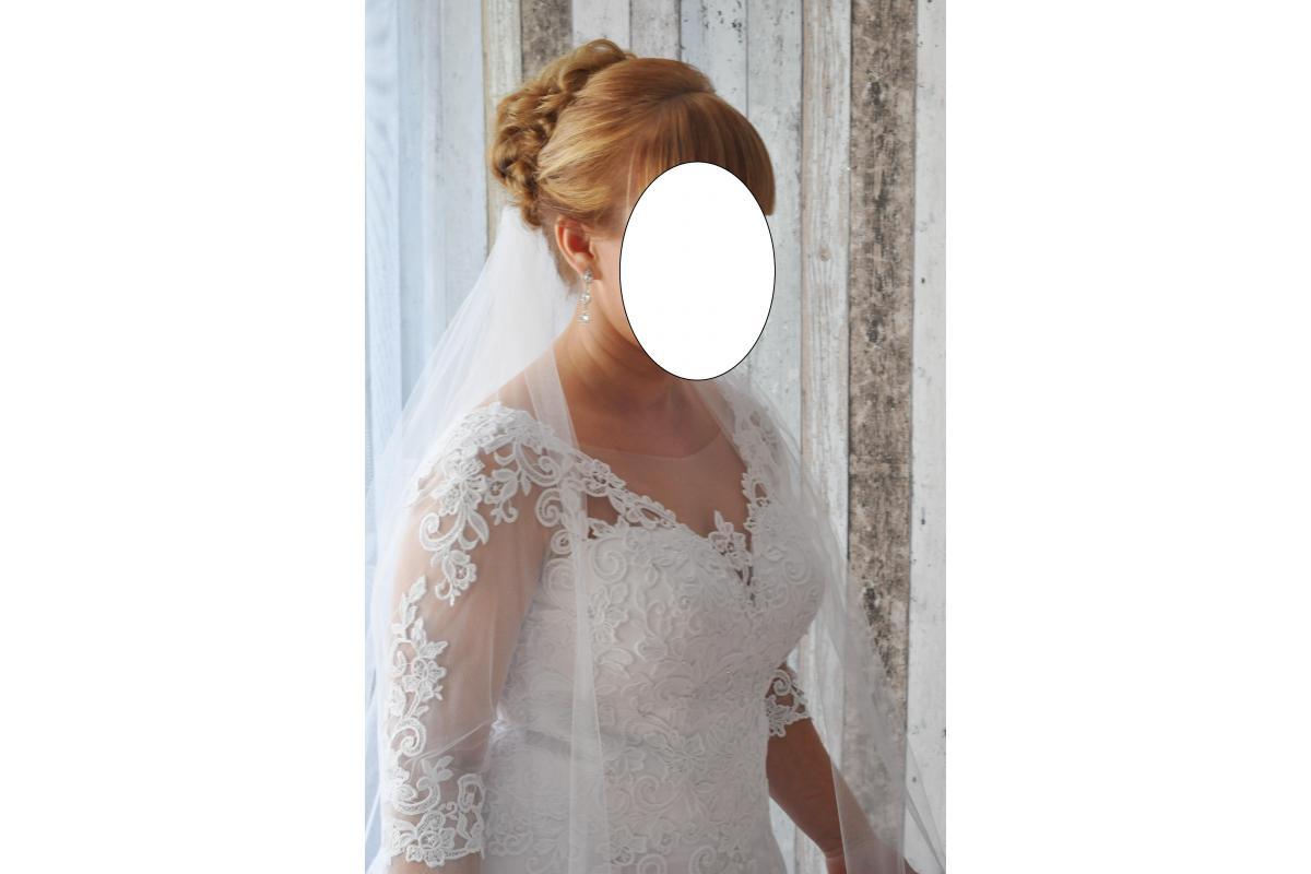 Suknia ślubna roz. 40/42, 154 cm plus 8cm obcas, dwa welony GRATIS