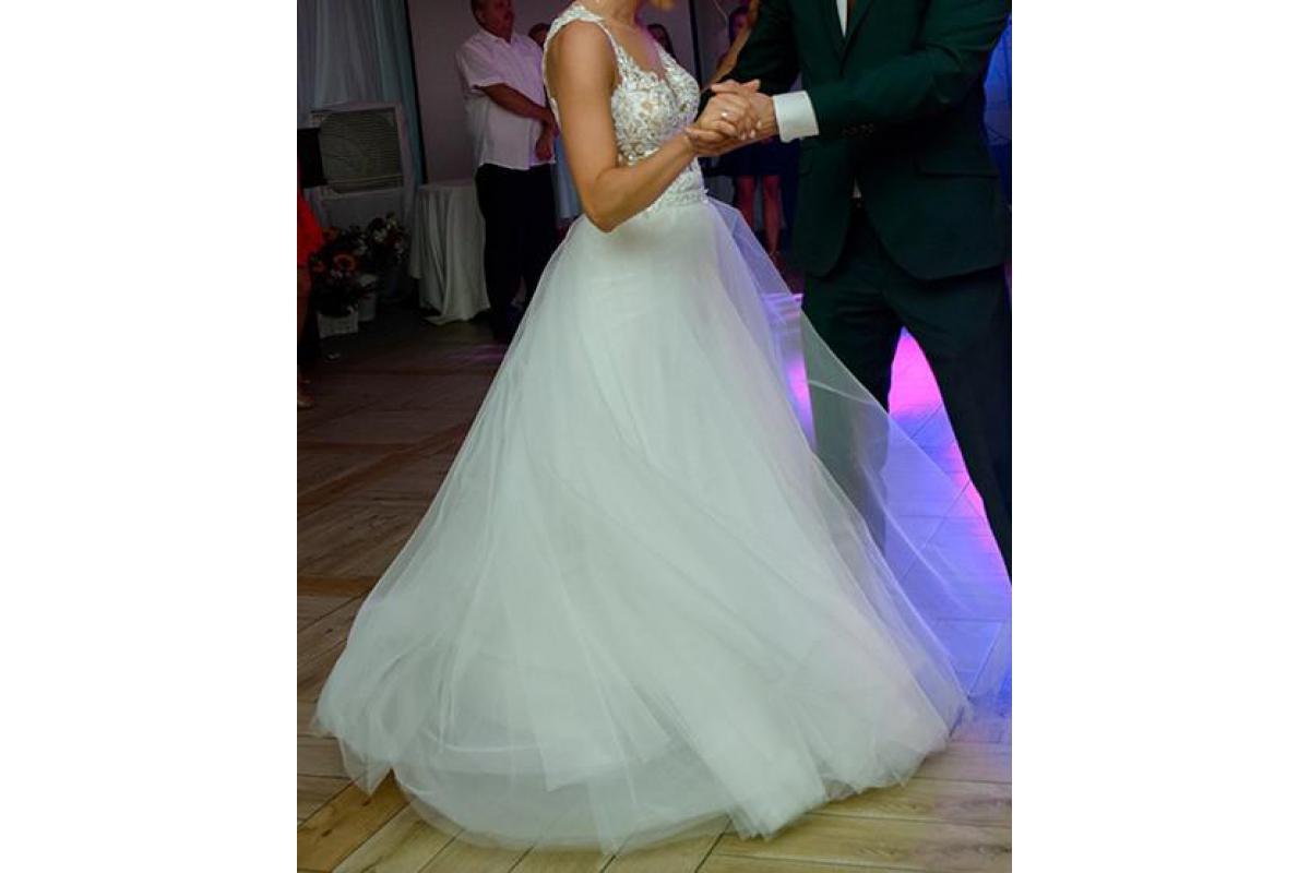 Piękna suknia ślubna od p. Agnieszki Światły z dopinanym trenem oraz spódnicą!! r. 36/38, 170 cm