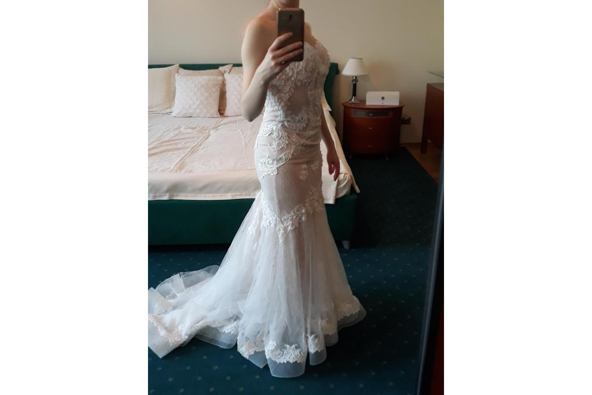 Suknia ślubna syrena długi tren rozmiar S