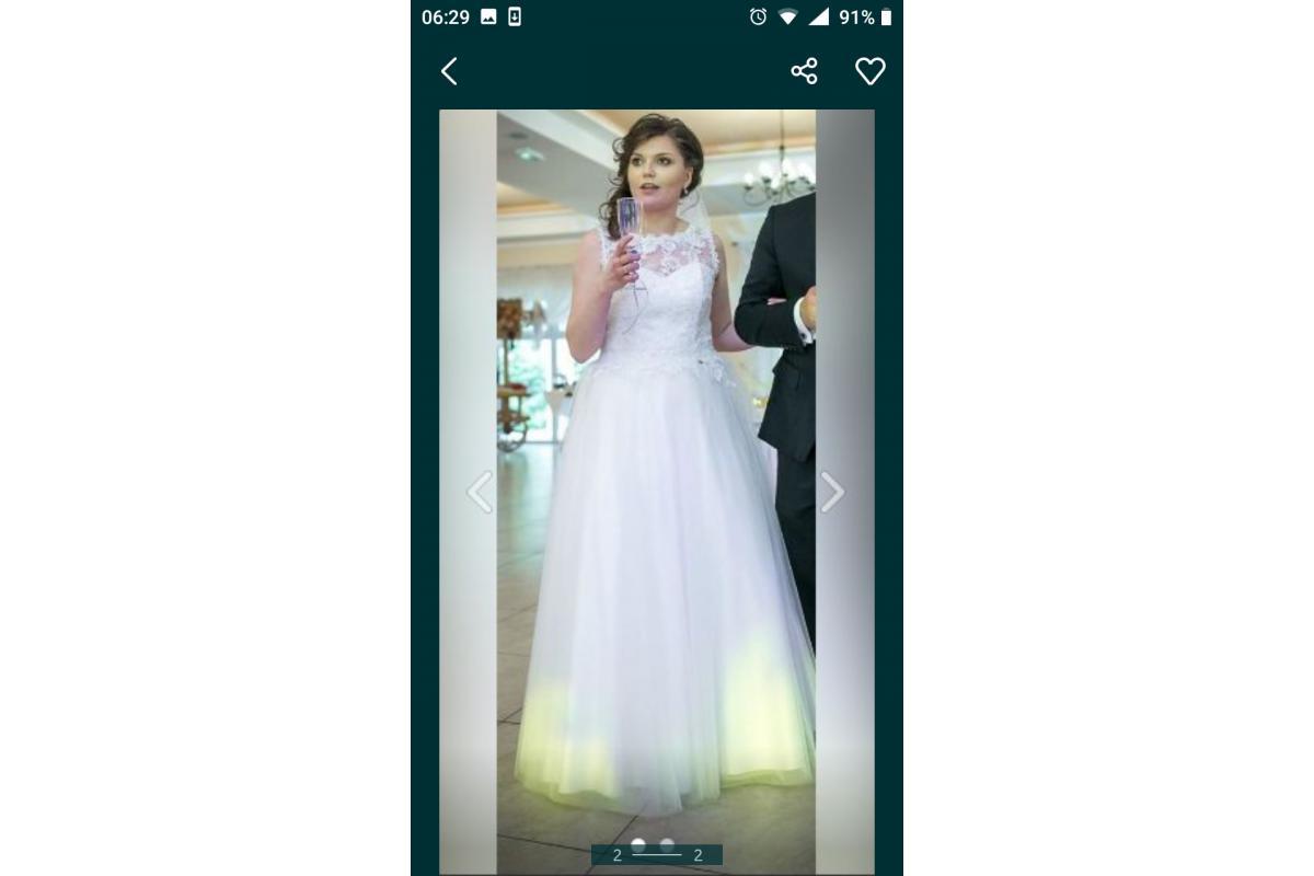 Suknia ślubna 2 w 1 krótka i długa z welonem