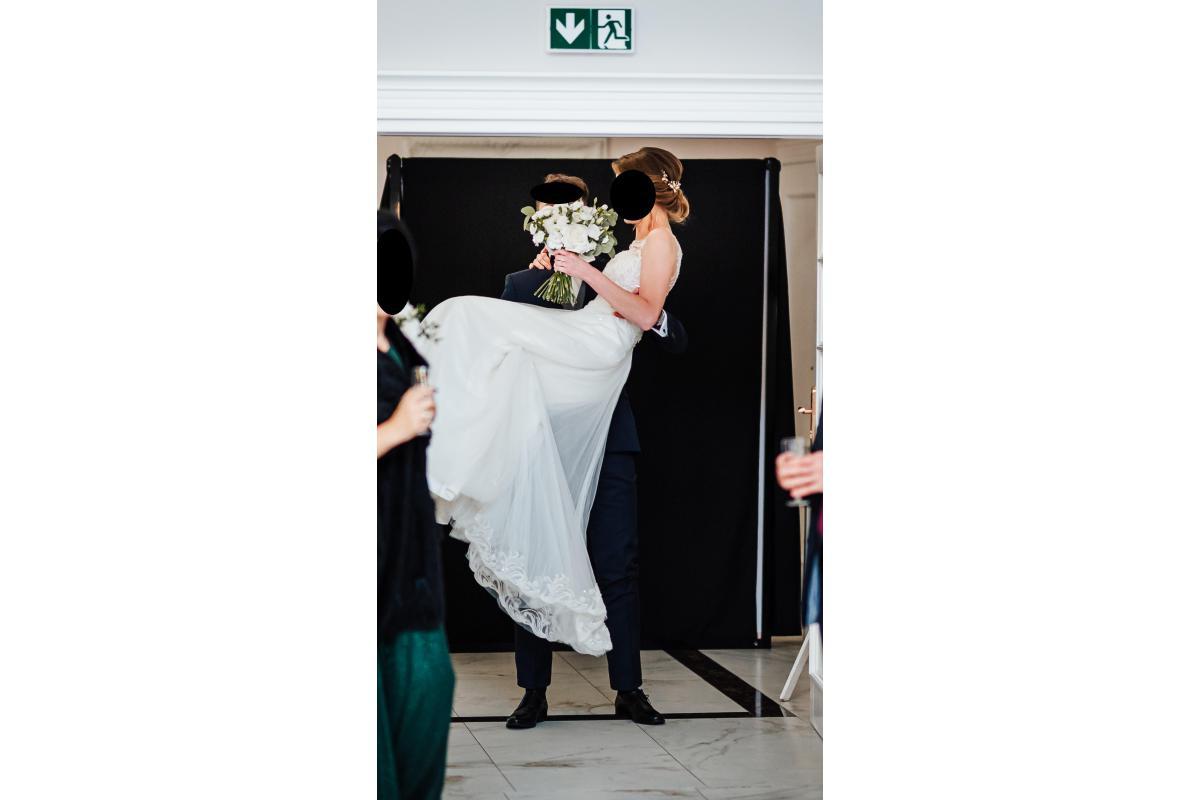 Suknia ślubna rozm. 36/38 ivory + nude Nabla Dominique z trenem
