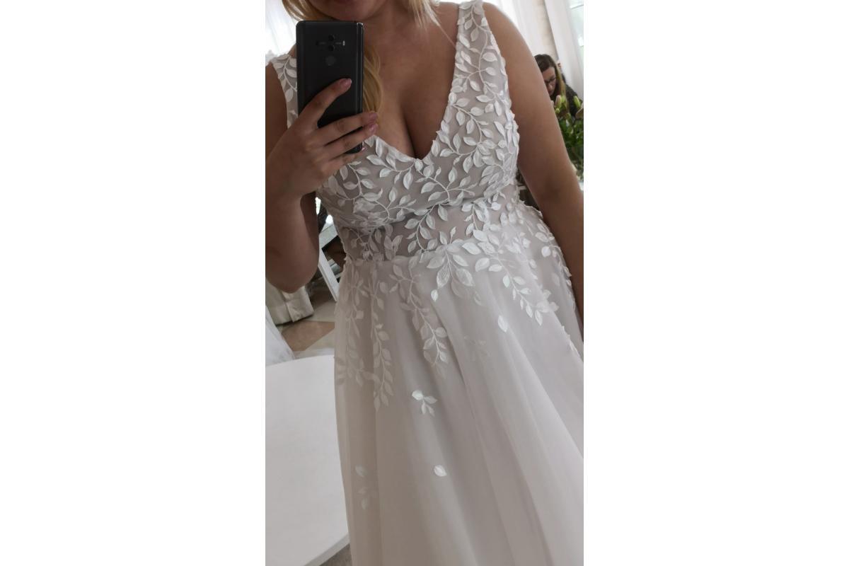 Suknia ślubna róż pudrowy i biel