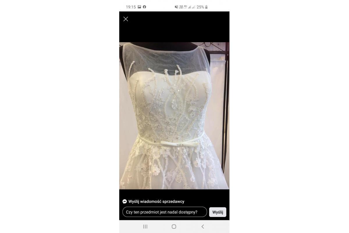 Kremowa śliczna suknia ślubna 38-46