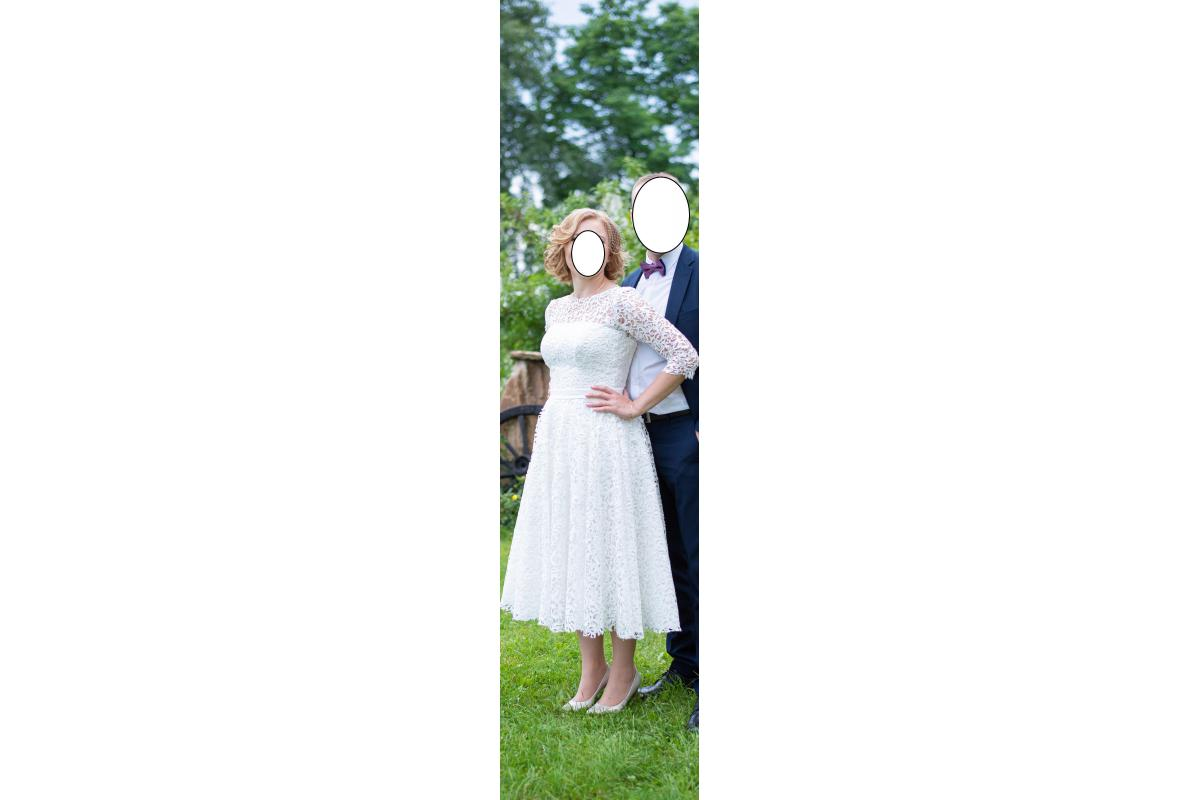 suknia ślubna 3/4 za kolano ecru