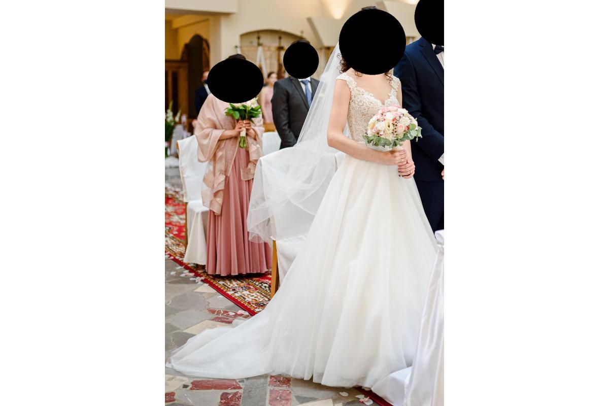 Suknia ślubna 2020 z brokatem i trenem r.36 (/34)
