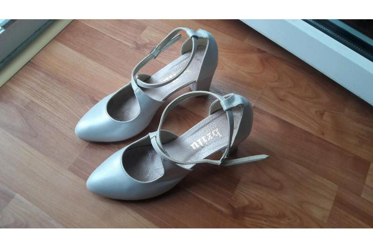 buty ślubne perłowe nosek migdałowy obcas 8 cm, zapinane, rozmiar 39