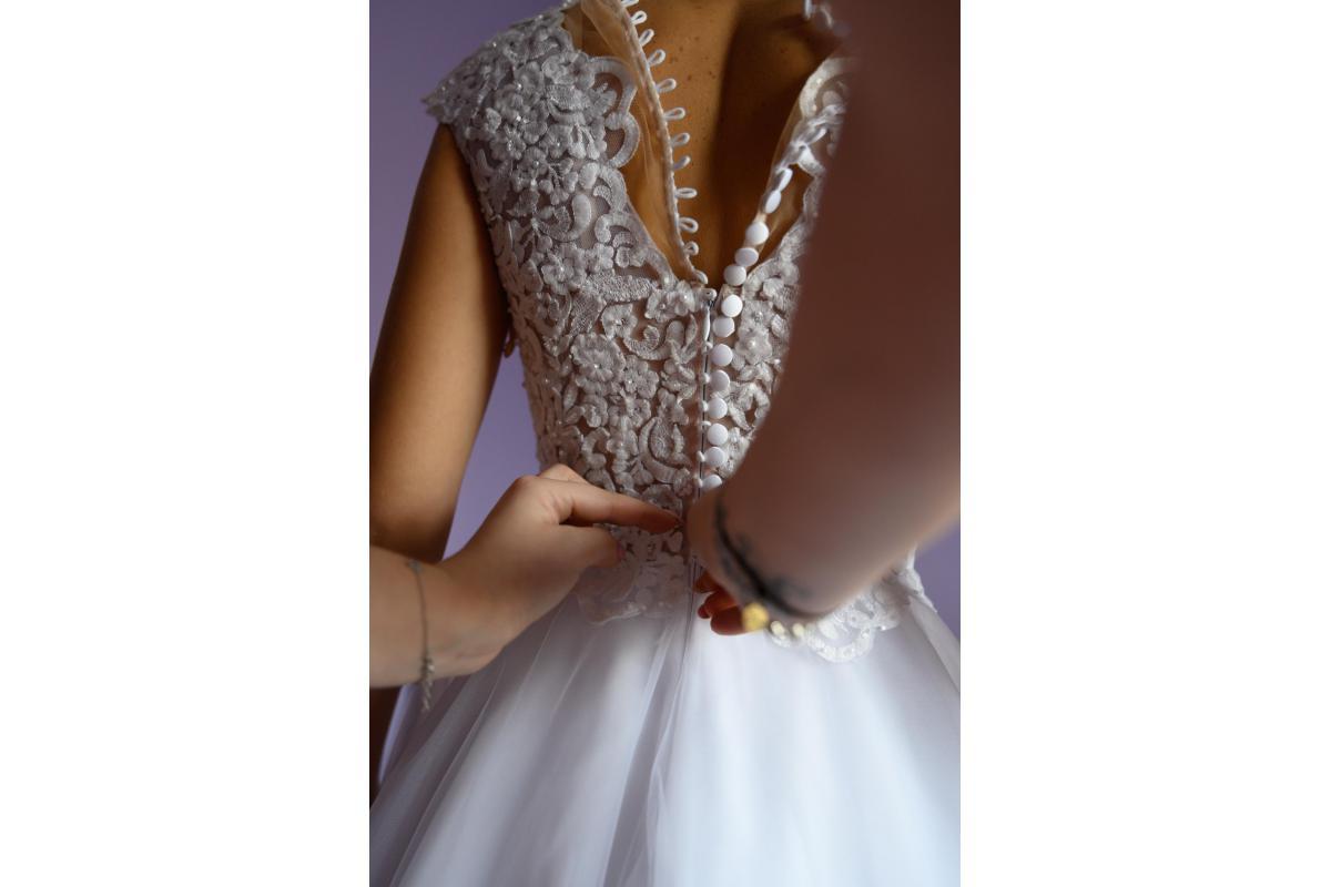 Suknia ślubna rozmiar około 34, wzrost 158 cm - W-wa/Łowicz