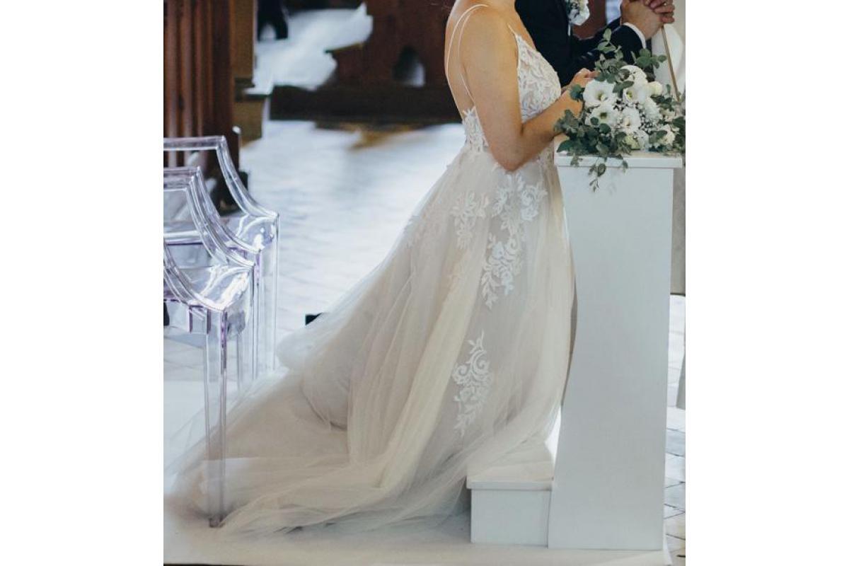 Suknia ślubna Marry Me Arystea, ivory tiul satyna