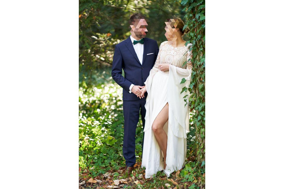 Suknia ślubna koronka muślin