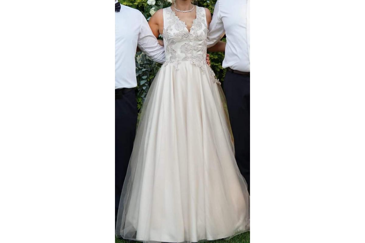 Szampańska suknia ślubna r.36